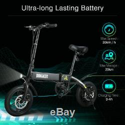 14'' Folding Electric Bike Collapsible Moped Bicycle With LED Headlight LCD USB