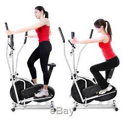 2 in 1 Elliptical Bike Cross Training Stationary Exercise Fitness Machine Dual