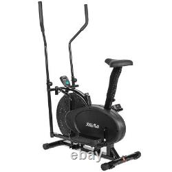 2 in 1 Elliptical Machine Exercise Upright Fan Bike Dual Action Trainer Fitness
