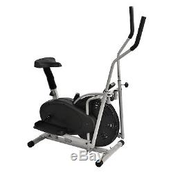 2 in 1 Elliptical Machine Exercise Upright Fan Bike Dual Trainer Fitness Workout