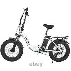 20 Fat Tire 750W 48V 13AH Folding Electric Bike Beach Snow E Bicycle White