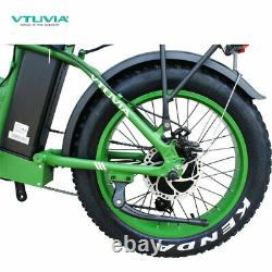 20 Fat Tire 750W 48V 13AH Folding Electric Bike Beach Snow EBicycle SK-20 Green