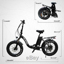 20Fat Tire 500W 48V 12AH Folding Electric Bike Beach Snow E Bicycle Black SF-20