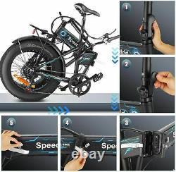 26 500W Fat Tire Folding Mountain Snow Electric Bike Bicycle E-Bike LCD Display