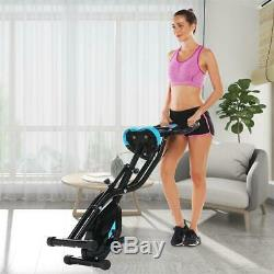 2in1 Folding Exercise Bike 10 Level Magnetic Fitness Upright Cycling 3 mode Home