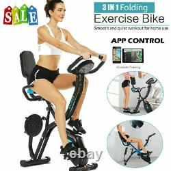 3 IN 1 Indoor Folding Exercise Bike Slim Upright Stationary Magnetic Cycle Home