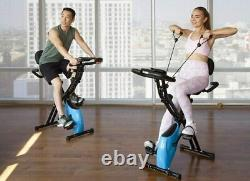 3-in-1 Foldable Exercise Bike Stationary Upright Recumbent Indoor with Arm Bands