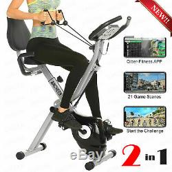 ANCHEER 2 in1 Folding Exercise Bike, Indoor Fitness Stationary Bike Workout