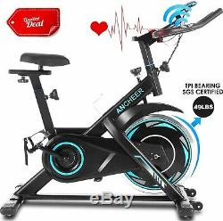 ANCHEER Exercise Bike, 49LBS Indoor Cycling Bike Stationary & Heart Rate Monitor