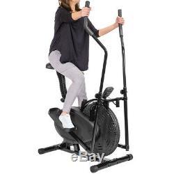 BLACK 2 in 1 Elliptical Bike Cross Training Stationary Exercise Fitness Machine