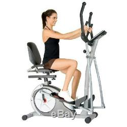 Cardio 3 In 1 Elliptical Cross Trainer Bike Exercise Fitness Machine Home Gym