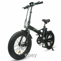 Ecotric 48V Fat Tire Portable and Folding Electric Bike with LCD Display Black
