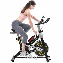 Exercise Bike Fitness Trainer Health Workout withDigital LCD Monitor&Wheel Yellow