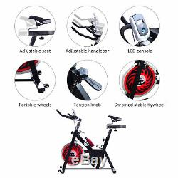 Exercise Bike Fitness Upright Indoor Bicycle Trainer With LCD Monitor