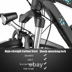 Fat Tire Electric Bike 48V 500W Beach Snow LCD Display Disc Brakes 6-Speed Blue