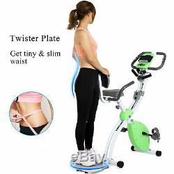 Foldable Stationary Upright Exercise Bike Cardio Workout Cycling Green Magnetic