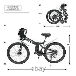 Folding 26 48V 13AH 1000W Electric FatTire City E Bike Beach Bicycle Ebike LCD