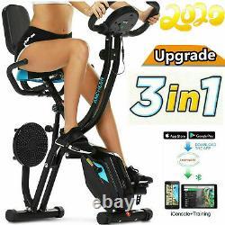 Folding 3 in 1 Stationary Upright Folding Exercise Bike Workout Cycling