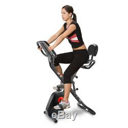Folding Cycling Exercise Bike Fitness Bicycle 8-Level Resistance Home Indoor Gym