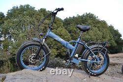 Folding Electric Bike 20 Fat Tire 750W 48V 13AH Beach Snow E Bicycle SK-20 Blue