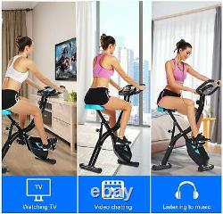 Folding Exercise Bike Magnetic Stationary Indoor Cycling Cardio Home Workout APP