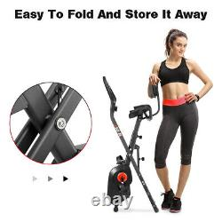 Folding Indoor Exercise Bike Cycling Cardio Fitness Home Gym Workout LCD 8-Level