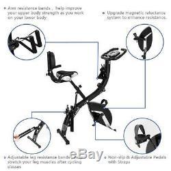 Folding Stationary Upright X-Shape Exercise Bike Workout Indoor Cycling Black