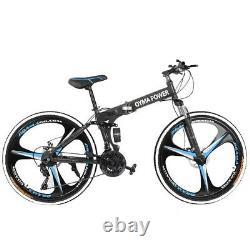 Full Suspension Folding Mountain Bike 26 21 Speed Bicycle Disc Brake Bikes MTB