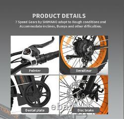 GLW 20 36V/13A 500W Folding Electric Bike FatTire Beach Mountain City Ebike LCD