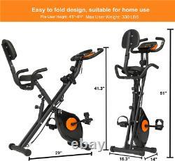 Home Gym Folding LCD Exercise Bike Indoor Fitness Workout Resistance Adjustable