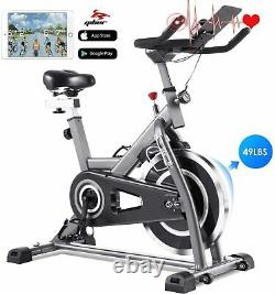 Indoor Exercise Bike Stationary, 490Lbs Cycling Bike with Heart Rate LCD Best New