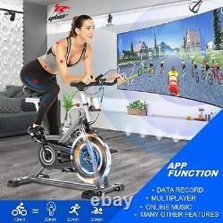Indoor Exercise Bike Stationary, 490Lbs Cycling Bike with-Heart Rate LCD Best USA