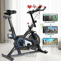 Indoor Exercise Bike Stationary Cycling Bike+40LBS Flywheel APP Heart Rate Monit