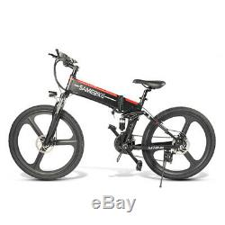 Samebike Black Folding Electric Bike 26 21-Spd LCD Display 350W 48V E-Bike