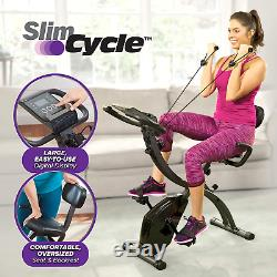 Slim Cycle 2-In-1 Stationary Bike Folding Indoor Exercise