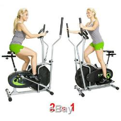 Stationary Exercise Bike Elliptical Fitness Machine Cycling Cardio Workout 2in1