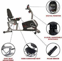 Sunny Health Fitness Magnetic Recumbent Exercise Bike Black