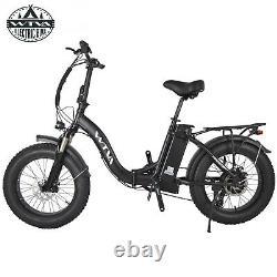 WTVA 20 Fat Tire 750W 48V 13AH Electric Bike City Snow Folding Bicycle Black