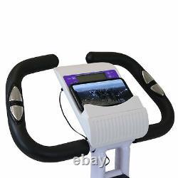Xspec Foldable Stationary Upright Exercise Workout Indoor Cycling Bike, Purple